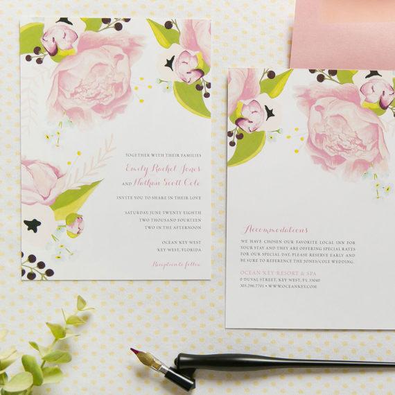 watercolor wedding invitation, kristen lynn fine papers